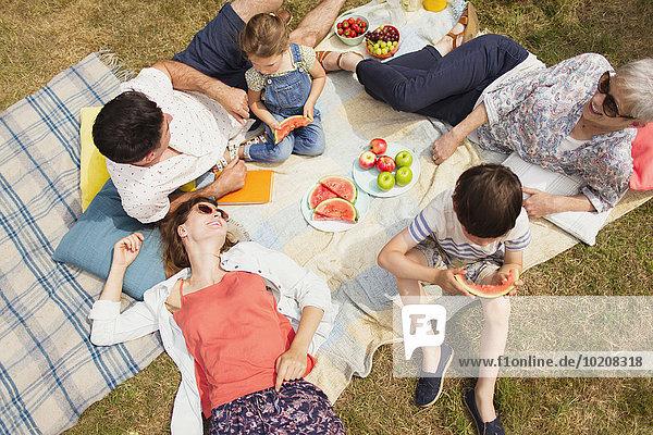 Overhead-Ansicht Mehrgenerationen-Familie genießt Sommerpicknick