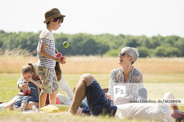 Mehrgenerationen-Familie im sonnigen Feld