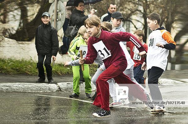 Wettrennen Rennen Europäer Straße