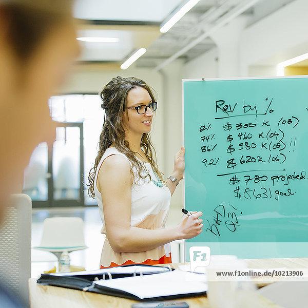 Europäer Geschäftsfrau sprechen Büro Besuch Treffen trifft