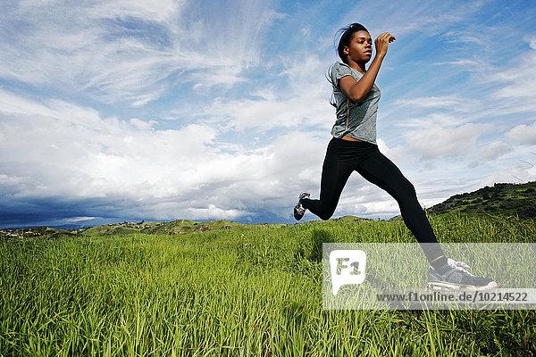 Ländliches Motiv ländliche Motive Feld rennen Athlet schwarz