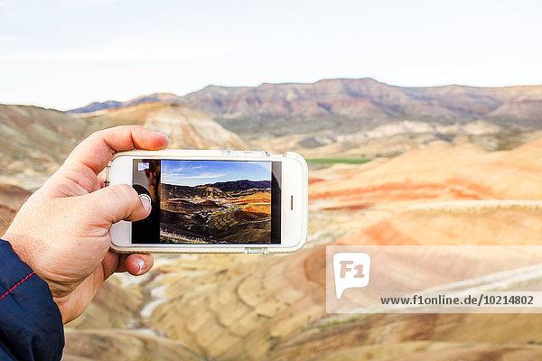 Handy Europäer Mann Vereinigte Staaten von Amerika USA Fotografie nehmen Landschaft Wüste