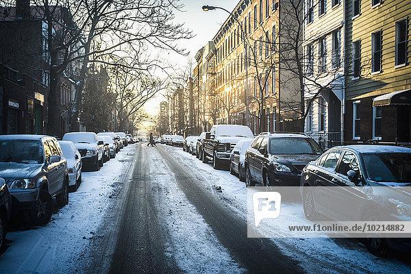 Vereinigte Staaten von Amerika USA New York City Straße Großstadt Schnee