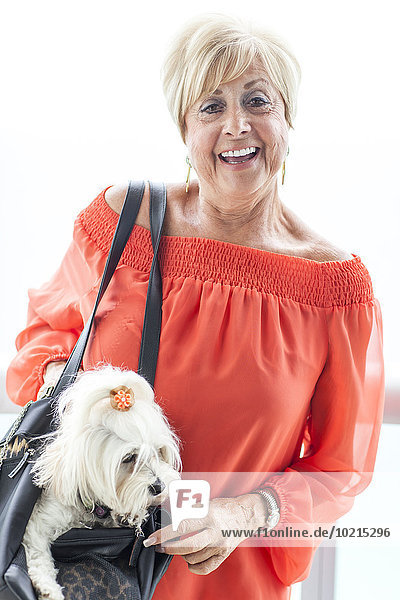 Older Caucasian woman carrying dog in purse