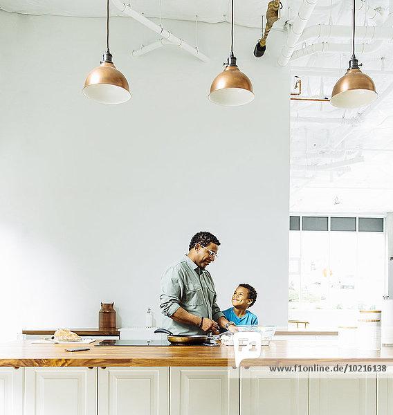 kochen Menschlicher Vater Sohn Küche