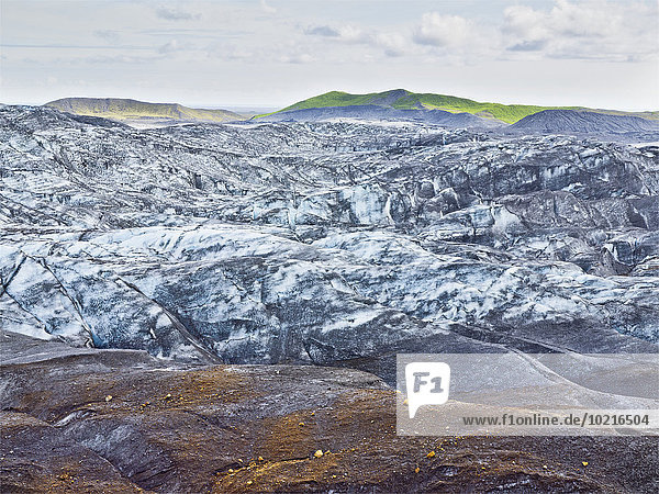 Snow on remote rock formations  Myrdalsjokull Glacier  South Iceland  Iceland