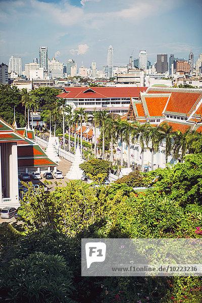 Thailand  Bangkok  Blick vom Wat Saket  The Golden Mountain Temple  Phu KHao Thong