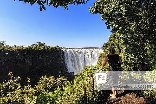 Südliches Afrika  Simbabwe  Tourist mit Blick auf die Victoriafälle