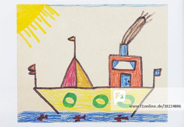 Kinderzeichnung  buntes Schiff und Meer