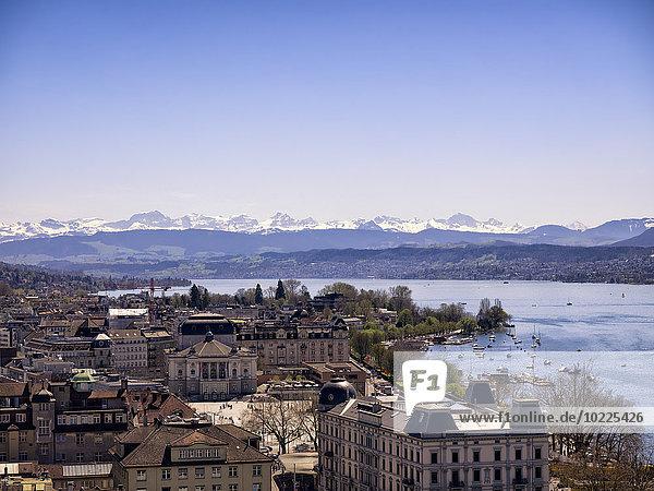 Switzerland  Zurich  Cityscape  Lake Zurich  Alps in the background