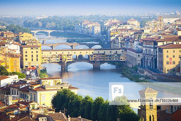 Italien  Florenz  Stadtbild mit Arno und Ponte Vecchio