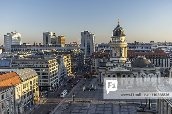 Germany  Berlin  Franzoesischer Dom and Gendarmenmarkt at sunset