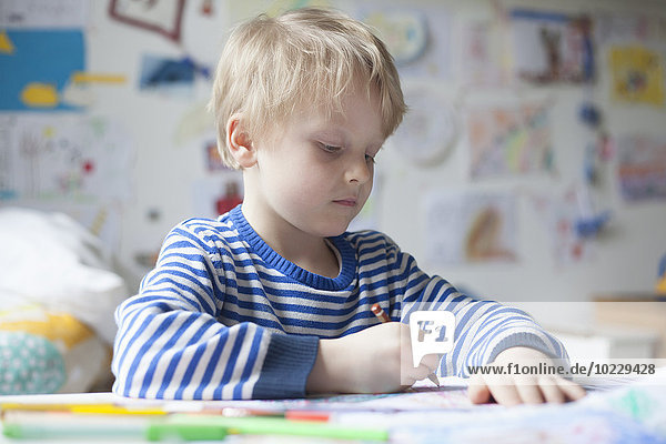 Portrait of blond little boy painting with crayon