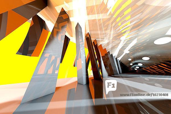 3D gerenderte Illustration  Architekturvisualisierung eines futuristischen Interieurs