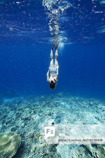 Malediven  Frau beim Schnorcheln im Indischen Ozean