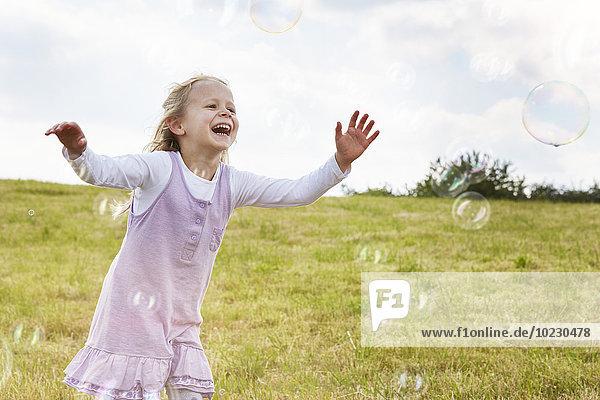 Kleines Mädchen versucht  Seifenblasen auf einer Wiese zu fangen. Kleines Mädchen versucht, Seifenblasen auf einer Wiese zu fangen.
