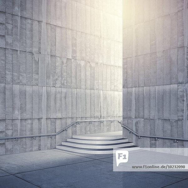 Leerer Raum mit Betonwänden  3D-Rendering Leerer Raum mit Betonwänden, 3D-Rendering