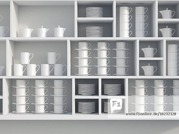 Weißes Regal mit Schalen  3D-Rendering