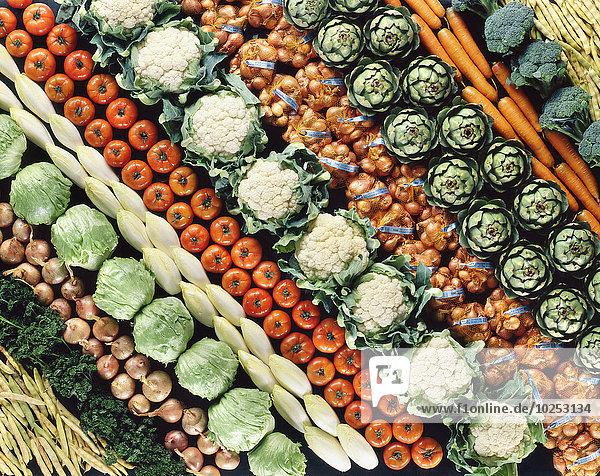 Erhöhte Ansicht Aufsicht Gemüse schießen Reihe