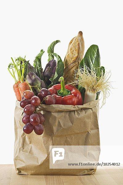 Papier Brot Tasche Frucht Gemüse braun