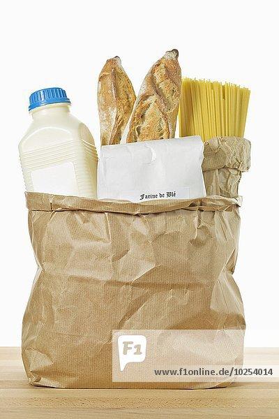 Getreide Papier Tasche Produktion Flasche braun Milch