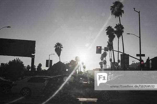 Blick auf die Stadtstraße an einem sonnigen Tag