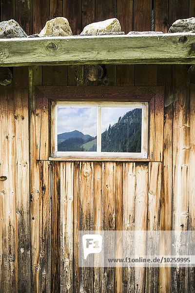 Blockhaus,Berg,Fenster,Spiegelung,schießen,voll
