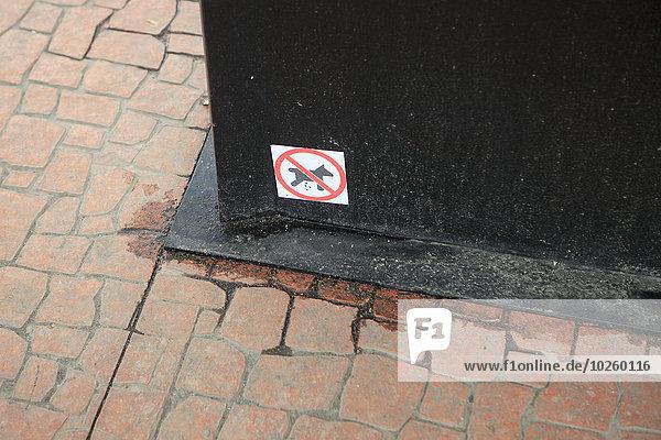 Hohe Blickwinkel auf keine Hunde erlaubt Schild auf Metall auf Fußweg