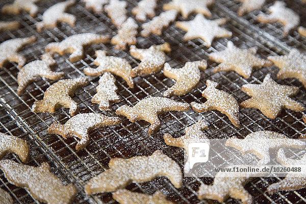 Kekse mit Puderzucker bestreut auf Kühlregal