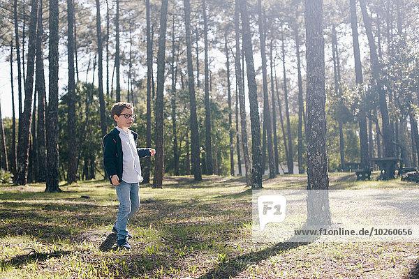 Volle Länge des Jungen beim Waldspaziergang