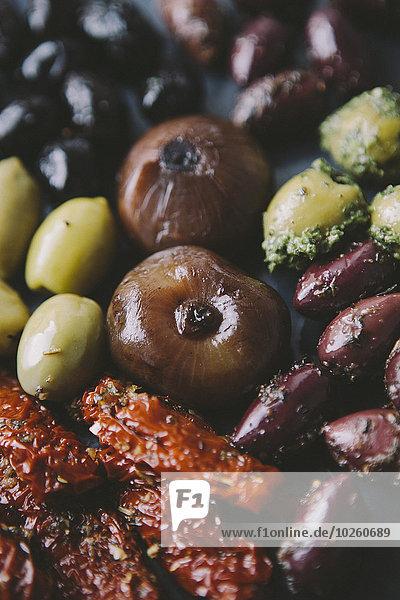 Vielfalt,Close-up,Tomate,Zwiebel,Olive,getrocknet,Sonne