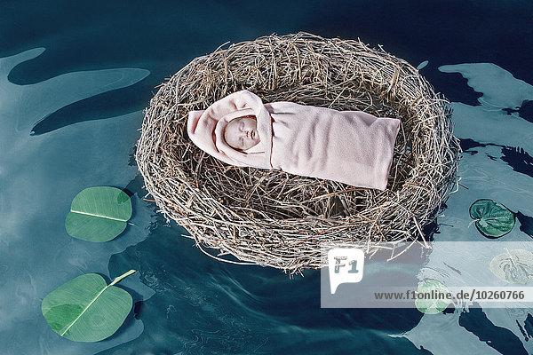 Hochwinkelansicht des Mädchens im Vogelnest  das auf dem Teich schwimmt