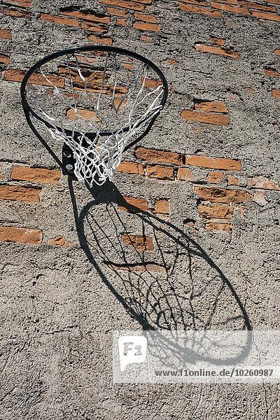 niedrig,Wand,Ziegelstein,Basketball,Ansicht,Flachwinkelansicht,einlochen,Winkel