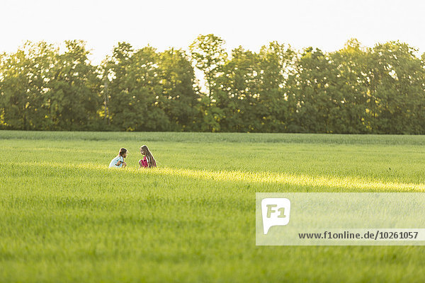 entfernt,sitzend,Fotografie,Feld,Mädchen,Wiese,Distanz