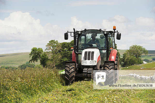 Tradition Traktor Heu Bauer Wiese Cumbria Trommel England
