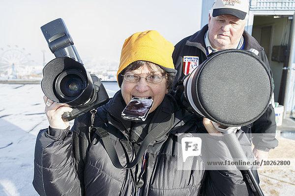 Zeremonie Fotograf Start groß großes großer große großen Fotoapparat Kamera Alaska Anchorage Innenstadt