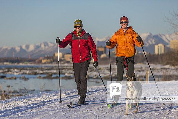 nahe Skyline Skylines überqueren Mensch zwei Personen Menschen folgen Küste Hintergrund Ski 2 Husky Skilanglauf Kreuz Erdbeben