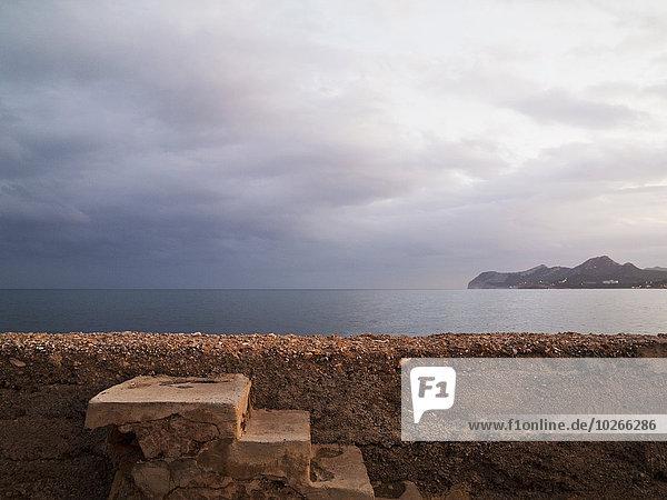 Overcast Sky at Promenade of Cala Ratjada  Majorca  Balearic Islands  Spain