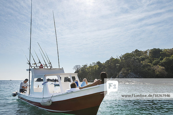 Entspannung Küste Boot Passagier Mexiko Guerrero
