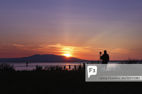 sehen Sommer Silhouette über Fotograf Point Woronzof Park Anchorage Sonne
