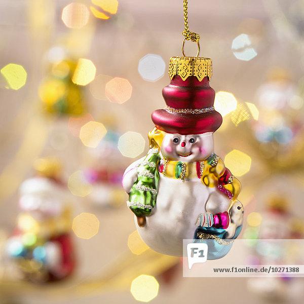 Fokus hängen Hintergrund Weihnachten Dekoration British Columbia Schneemann