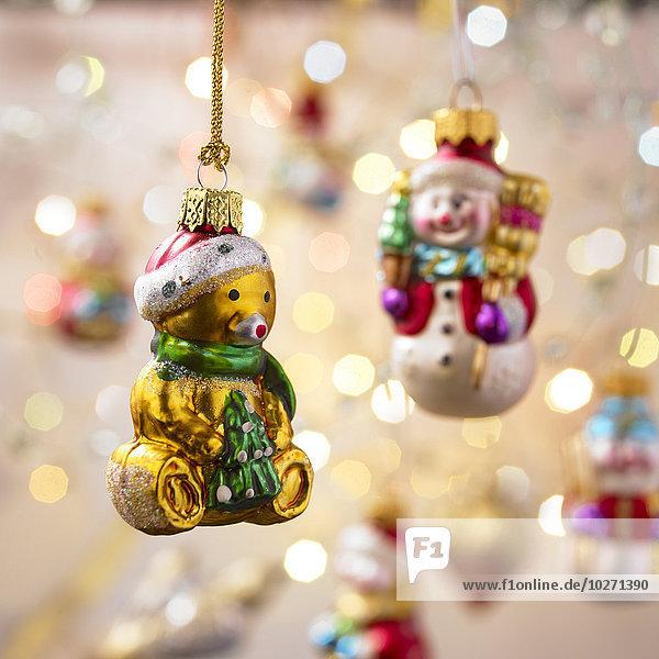 Fokus gelb hängen Hintergrund Weihnachten Dekoration Teddy Teddybär British Columbia