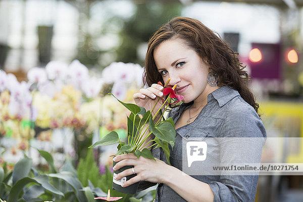 Innenaufnahme junge Frau junge Frauen sehen Blume Pflanze Treibhaus