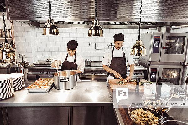Küchenchefs und Küchenchefinnen bei der Zubereitung von Gerichten in der Großküche