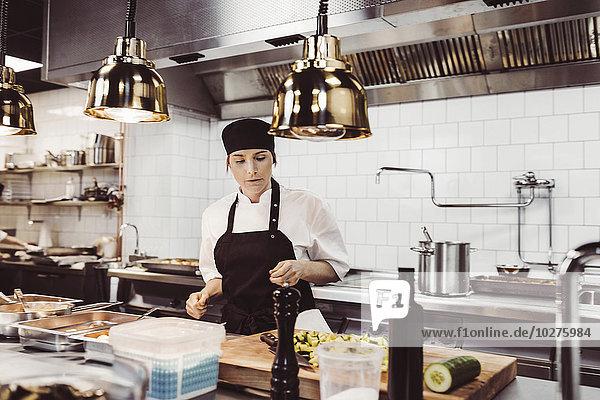 Köchin bei der Arbeit an der gewerblichen Küchentheke
