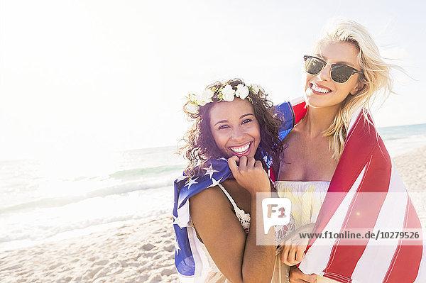 Freundschaft Strand Fahne amerikanisch