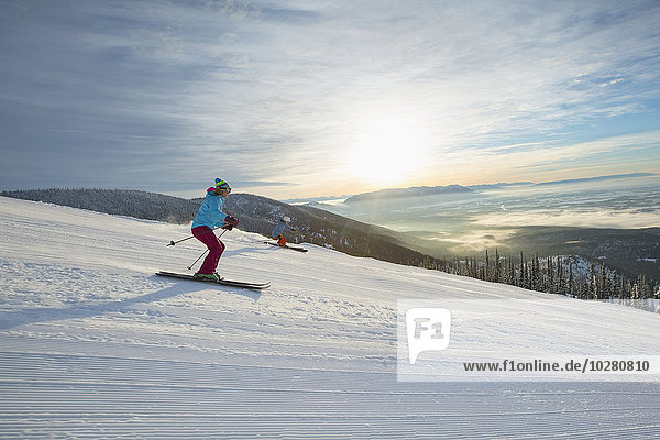 Sonnenuntergang Skisport