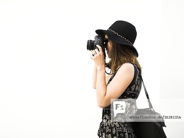 Frau Urlaub nehmen Fotografie