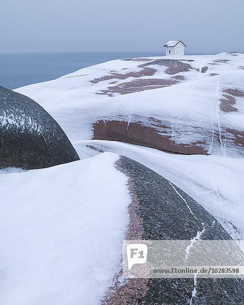 Winter Felsen Gebäude Küste