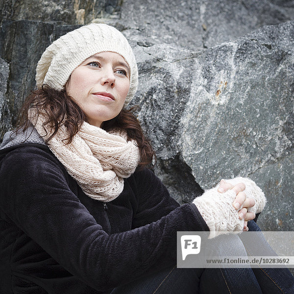 Woman wearing knitted hat